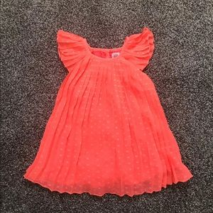 Baby gap coral pleated dress Sz 6-12 Mos NWOT
